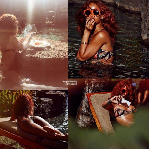 Rihanna toute sexy dans sa mini-robe en posant sur les plages d'Hawaï. La chanteuse est à Hawaï pour le mariage d'un ami et elle a été photographiée par son copain Dennis Leupold pour quelques photos sur Instagram.  (dimanche (19 Avril) à Honolulu, Hawaii)