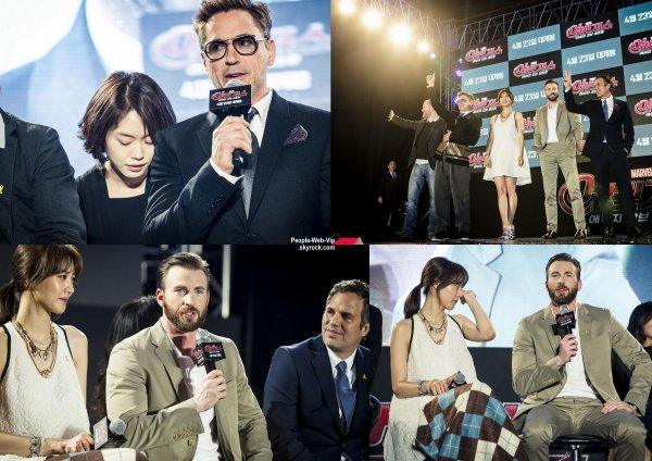 Chris Evans assiste à la première de son dernier film Avengers: Age of Ultron au Convention Hall SETEC. L'acteur a été rejoint par ses co-stars Robert Downey Jr., Claudia Kim, Mark Ruffalo et scénariste et réalisateur Joss Whedon   (vendredi (17 Avril) à Séoul, Corée du Sud.)