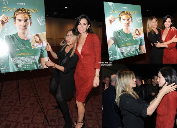 "Jennifer Aniston soutien sa BFF Courteney Cox à la première de son nouveau film réalisé ""Just Before I Go "" tenu au Cinerama Dome Theater Hollywood  (lundi (20 Avril) à Hollywood.)"