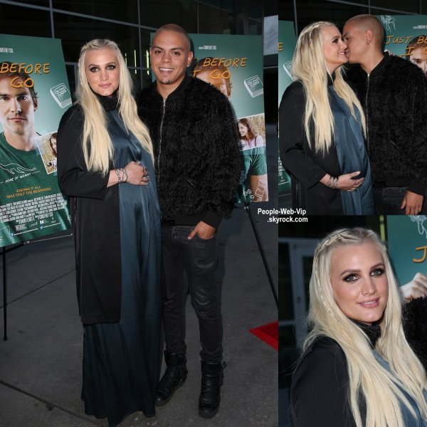 Evan Ross assiste à la première de son dernier film Just Before I Go tenu au Cinerama Dome Theater Hollywood avec sa femme enceinte Ashlee Simpson. ( lundi (20 Avril) à Hollywood.)