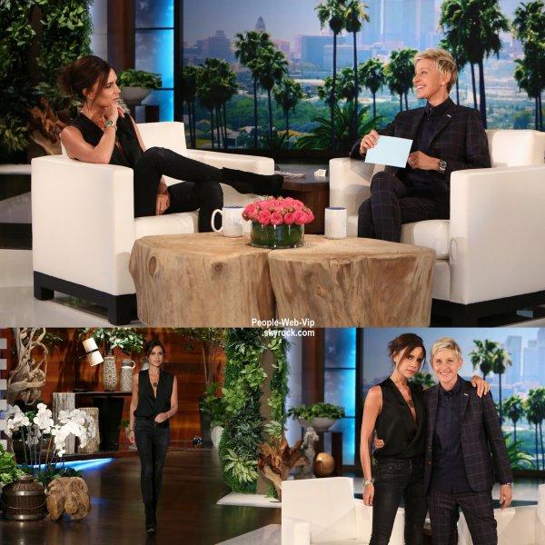 """Victoria Beckham a été aperçue sur le plateau d'émission de """" The Ellen DeGeneres Show """" (diffusion le vendredi (24 Avril) de Los Angeles.)"""
