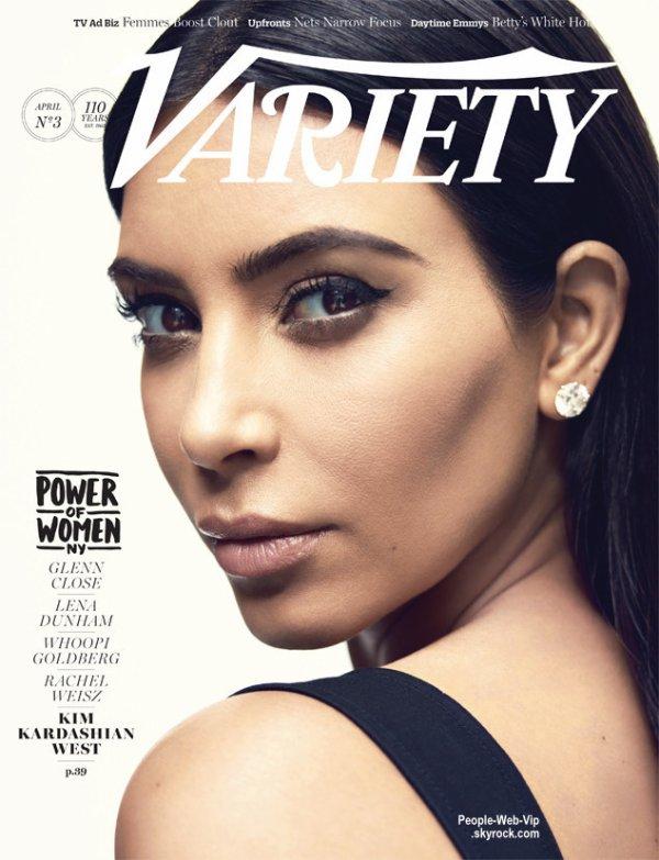 """""""POWER OF WOMAN """" Kim Kardashian, Lena Dunham, Whoopi Goldberg, Rachel Weisz et Glenn Close.  Pour son numéro spécial """"Femmes de pouvoirs"""" de 2015, le magazine Variety a choisi cinq personnalités hollywoodiennes à l'honneur pour leurs efforts charitables."""