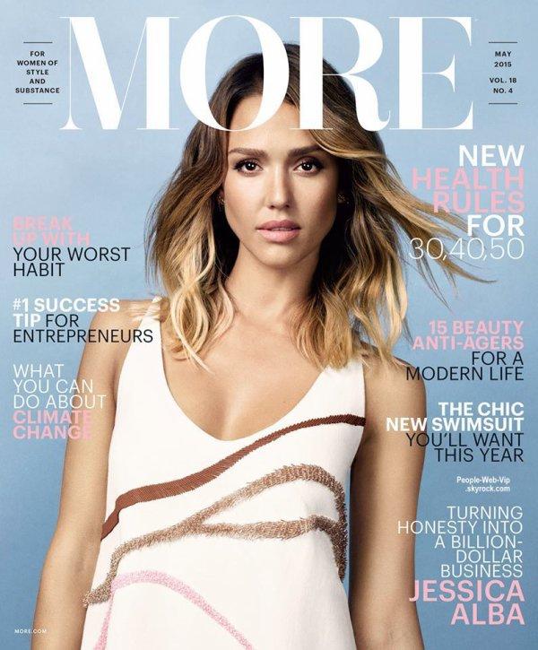 """Jessica Alba pose sur la couverture du numéro de mai 2015 du magazine """"More.""""  Qu'en pensez vous?"""