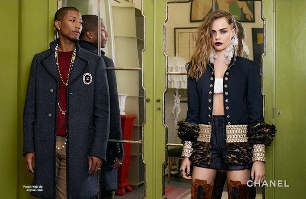 CHANEL :  Capturé par la lentille de la caméra de Karl Lagerfeld, le rappeur, producteur Pharrell Williams et Cara Delevingne deviennent les stars de la campagne Chanel avec Hudson Kroenig. Qu'en pensez vous?