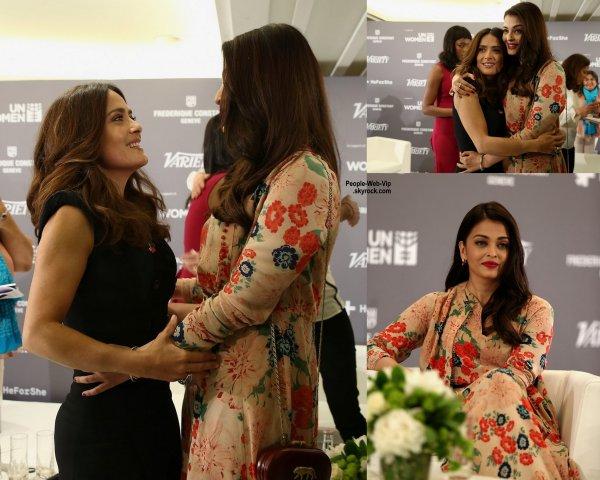 """Salma Hayek a été aperçue à la soirée """"Variety and UN Women's""""  sur l'égalité des sexes avec Aishwarya Rai  pendant le Festival de Cannes 2015 au Radisson Blu  (samedi (16 mai) à Cannes, France.)"""