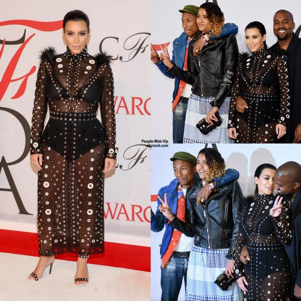 "Kim Kardashian aperçue avec son mari Kanye West lors de la soirée "" CFDA Fashion Awards 2015 "" (au Lincoln Center le lundi (1 Juin) à New York.)"