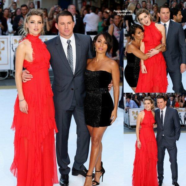 """Channing Tatum, sa femme Jenna, Joe Manganiello, Amber Heard et Jada Pinkett Smith partagent des moments mignon sur le tapis rouge à la première européenne de """"Magic Mike XXL""""  ( mardi (30 Juin) à Londres, en Angleterre.)"""