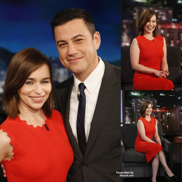Emilia Clarke a fait une apparition sur le plateau du talk show Jimmy Kimmel Live!  (lundi soir (Juin 29) à Hollywood.)