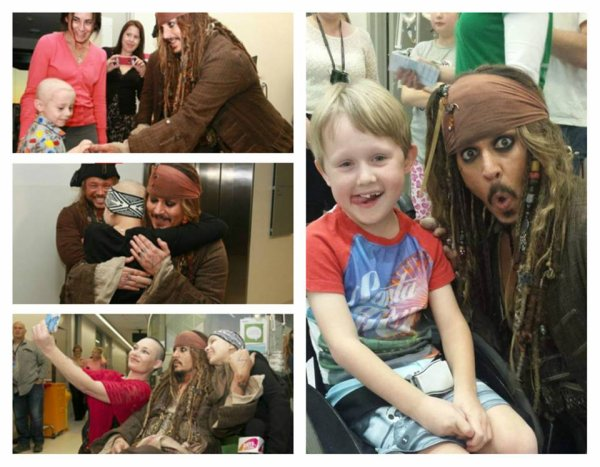 En plein tournage du dernier Pirates de Caraïbes, JOHNNY DEPP a pris le temps de rendre visite à des enfants malades à un hôpital de Brisbane. Un moment unique qu'ils ne sont pas près d'oublier ! (mardi (7 juillet) en Australie.)