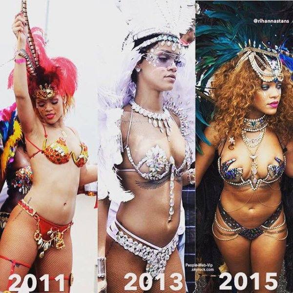 Rihanna à la Barbade !  Lewis Hamilton, ex de Nicole Scherzinger, a été aperçu sur le même char que miss Fenty lors du carnaval. Romance? A suivre.