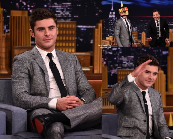 "Zac Efron a fait la promotion de son prochain film ""We Are Your Friends"" à l'émission The Tonight Show Starring Jimmy Fallon  (lundi soir (17 août) à New York.)"