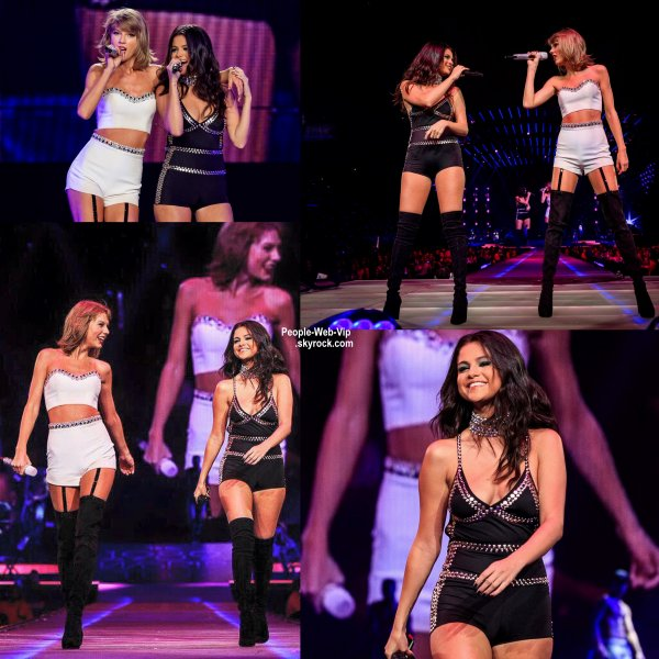 "Selena Gomez a rejoint sa copine Taylor Swift sur scène lors du "" 1989 World Tour""  ( mercredi (26 Août) au Staples Center à Los Angeles.)"