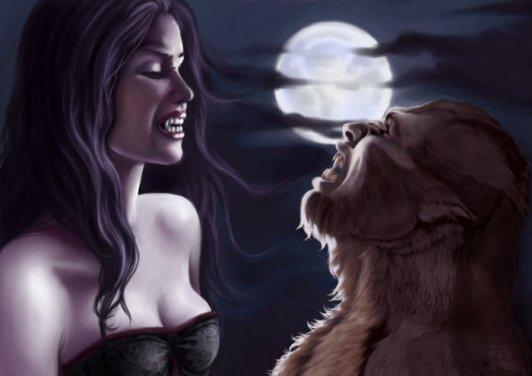 sou la plainne lune voila la vampirette en face d un loup garou
