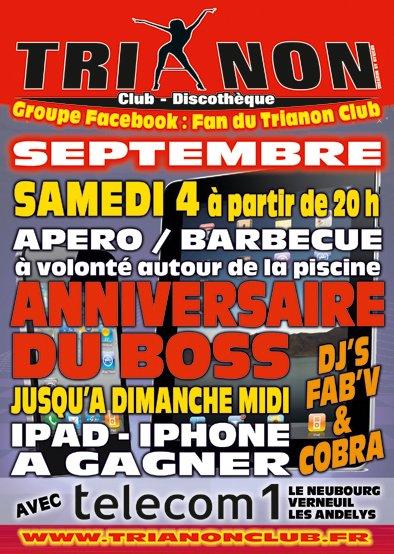 Samedi 4 Sept Anniversaire du BOSS du TRIANON Club Apéro/Barbecue a volonté a partir de 20h au tour de la Piscine a 32°
