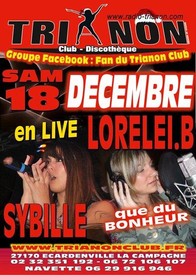 Samedi 18 Décembre Soirée : Lorelei et Sybille en LIVE au TRIANON Club, Que du Bonheur !!!