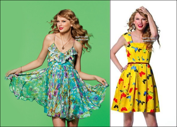 Taylor Swift fait la couverture de USA Weekend ! J'aime ni la robe verte ni la robe jaune...