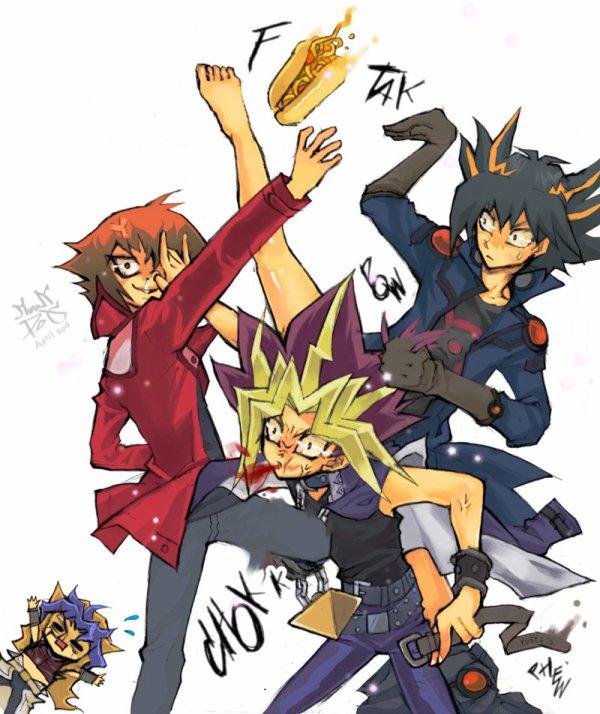 Yûgi, Judai et Yusei.