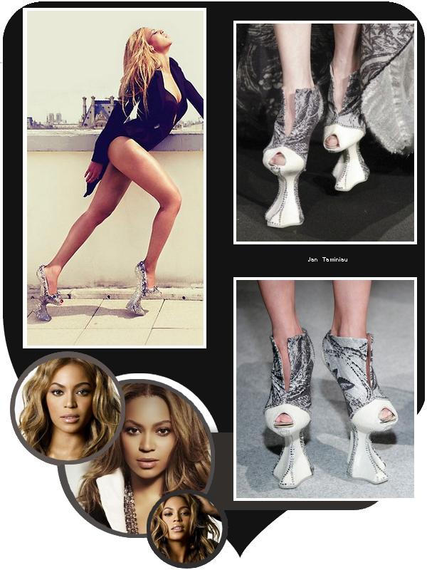 Beyoncé porte des escarpins a mi-chemin entre chaussures et échasses.