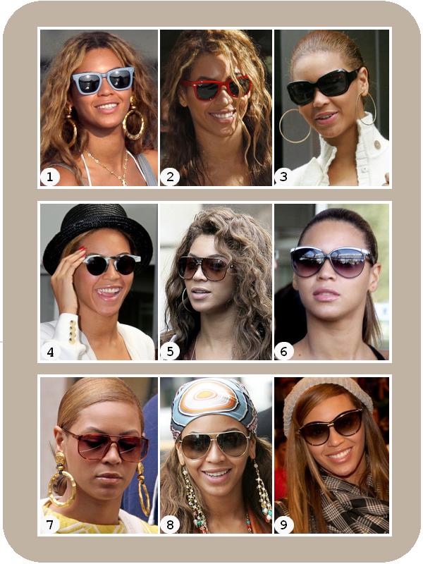 """Voici des """" Lunettes de soleil """" que Beyoncé a porté :"""
