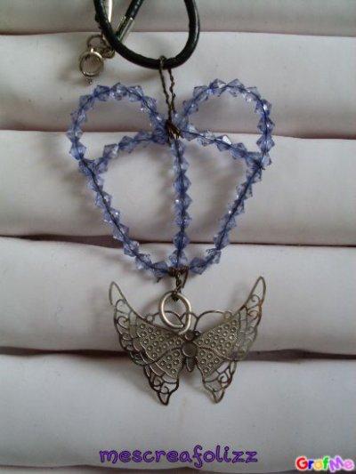 collier coeur + papillon