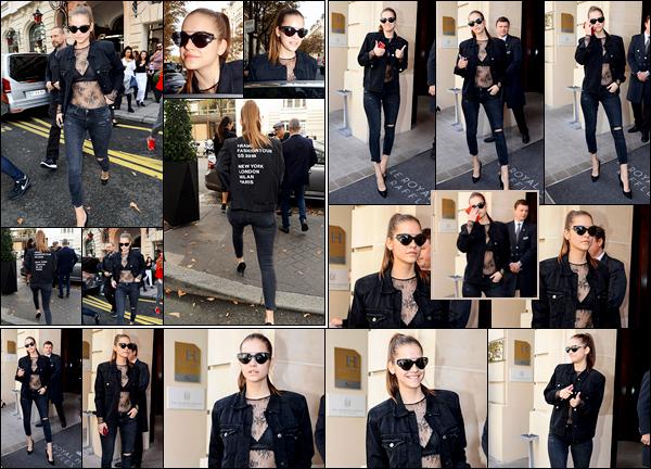 ____        30/09/2017  ¤Miss  Barbara Palvin , _a été photographiée dans les rues  parisiennes  , les paparazzis ne la lâchent plus d'une semelle    !  Barbara   arborait une tenue plutôt osée , je n'aime pas le haut en dentelle transparant, mais le reste j'aime bien .Votre avis sur sa tenue  ? __        __