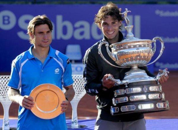 Rafa Nadal gagne le tournoi de Barceloneface a David Ferrer