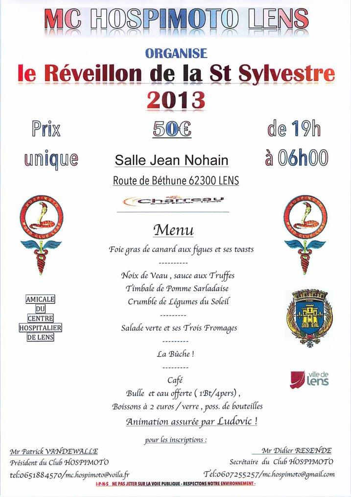 le reveillon de la Saint Sylvestre 2013 , à LENS , c'est à la salle Jean Nohain avec le MC Hospimoto  !!!