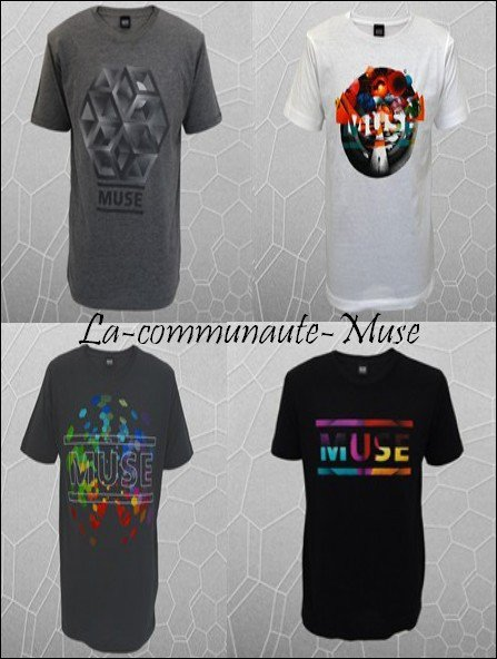 Pour continuer... Un autre sondage! Voici quelques t-shirts disponibles sur le site du groupe ( www.muse.mu ), mon préféré étant le 2 n_n Et vous? Et les chanceux qui ont un t-shirt Muse dites moi lequel!
