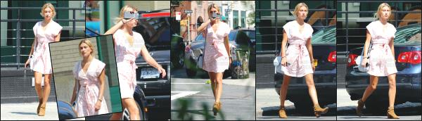 - 17.07.16 ─ Notre Hailey Baldwin est photographiée alors qu'elle se baladait dans les rues de Tribeca à New York ![/s#00000ize]Hailey portait une jolie robe estivale, qui lui va vraiment très bien je trouve, ainsi que les chaussures, malgrès qu'elle ne soit pas adapté pour la saison.   -
