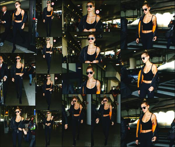 - 29.11.16 ─ Hailey Baldwin est photographiée ce jour là alors qu'elle arrivait a l'aéroport « LAX » de Los Angeles ![/s#00000ize]Hailey est donc de retour dans l'état de la Californie pour notre plus grand bonheur. J'aime bien la tenue qui porte, qui est plutôt détente je trouve. Top ! -