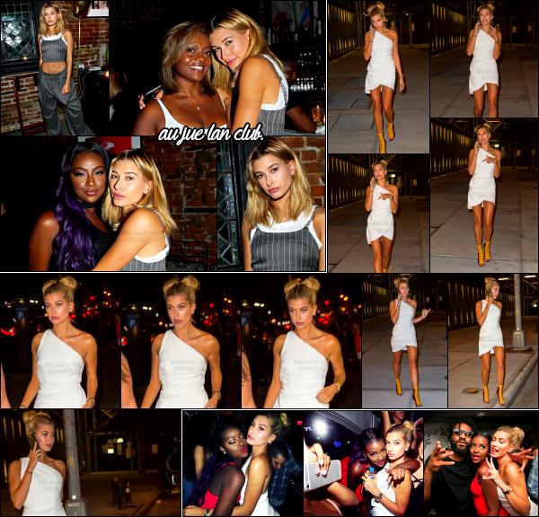 - 25/08/16 - Hailey Baldwin est photographiée alors qu'elle quittait la boîte de nuit « 1OAK »  à -  New York  !Le 24/08 Hailey était au Jue Lan Club. Hailey était au 1OAK afin de célébrer l'anniversaire de son amie Justine Skye. Une très jolie tenue pour notre Hails.  -