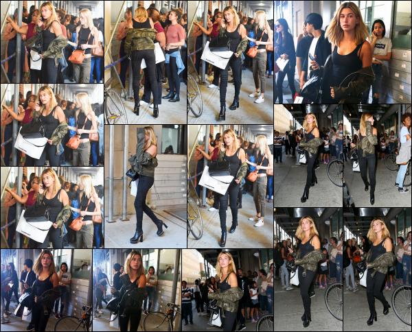 - 04/09/16 - Hailey Baldwin se jour là alors qu'elle allait répéter l'un de ses défilés dans les rues -  New York. Hailey portait une tenue très simple se jour là, mais que j'aime beaucoup. Elle s'est aussi arrêté quelques instants pour prendre des photos avec des fans.    -