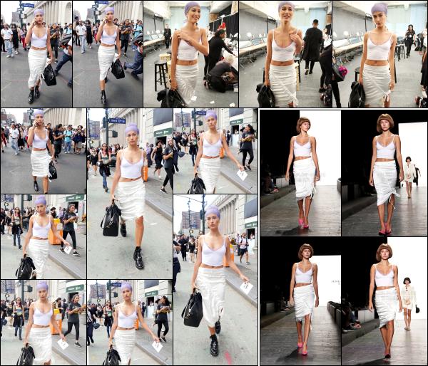 - 12/09/16 - H. Baldwin est photographiée alors qu'elle se rendait aux répétitions de son défilé à - New York.Le soir même, Hailey à donc défilé pour le célèbre styliste Jeremy Scott ! Hailey portait une perruque qui lui donne un style plutôt spécial je trouve. Bof !   -