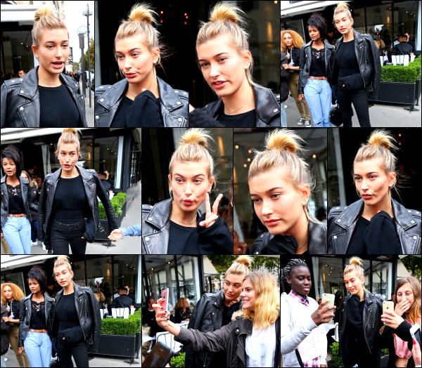 - 19/09/16 - La belle Hailey Baldwin est aperçue alors qu'elle quittait le restaurant « L'Avenue » dans - Paris.La belle Hailey est à présent à la capitale française !! De nombreux fans ont eu la chance de la rencontrer et prendre des photos avec se jour là. Un top.  -