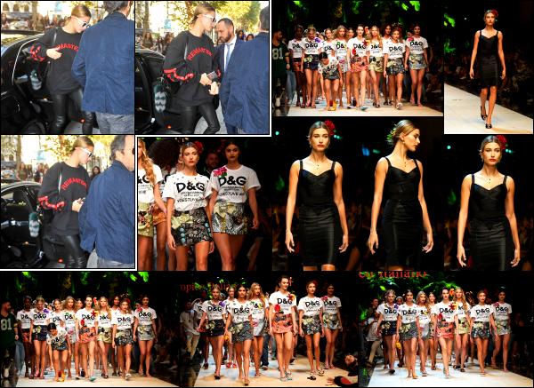- 25/09/16 - Hailey Baldwin est aperçue alors qu'elle arrivait à son show pour « Dolce & Gabbana » - Milan !Quelques heures après son arrivée, c'est sur la piste que nous retrouvons Hailey défiler pour la marque Dolce & Gabbana. Et oui, encore un défilé. Avis ?  -