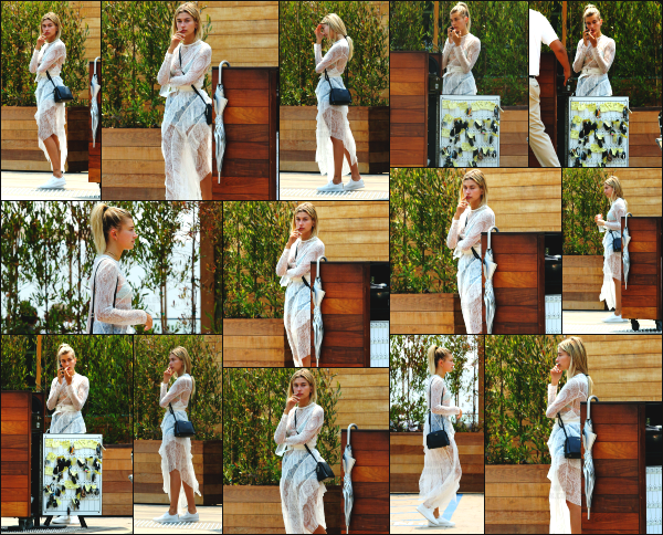 - 23.07.16 ─ Notre sulfureuse Hailey Baldwin est aperçue, alors qu'elle était au « Soho House » dans Malibu (CA)  ![/s#00000ize]Hailey B. avait l'air d'attendre quelqu'un. J'aime beaucoup la tenue qu'elle portait, qui est assez spéciale mais plutôt jolie. Je lui donne un très jolie top !  -