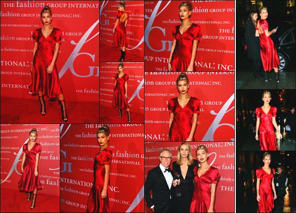 - 27.10.16 ─ La belle Hailey Baldwin était présente au « Fashion Group International: 2016 Night of Stars » dans NY[/s#00000ize]Hailey est aussi aperçue un peu plus tard dans la soirée, alors qu'elle quittait l'évènement. Elle portait une très jolie robe rouge en soie. C'est un beau top  -