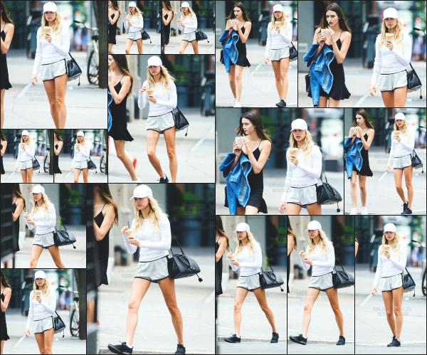 - 25.06.16 ─ Notre Hails Baldwin est photographiée alors qu'elle se baladait dans les rues de Tribeca à New York ![/s#00000ize]Hailey était ce jour là en compagnie de l'une de ses amies, avec une boisson fraîche à la main. Elle portait une tenue de sport. C'est donc un petit top.   -