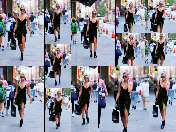 - 06.06.16 ─ Hailey Baldwin est photographiée alors qu'elle se promenait dans le quartier de Soho dans New York.[/s#00000ize]Hailey portait une jolie robe verte en velour, ce n'est pas trop mon style mais je trouve qu'elle le porte assez bien ! Un peu de shopping pour Hails! Top -