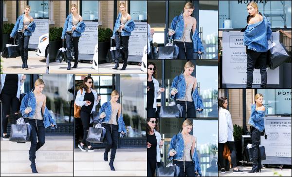 - 06.04.17 ─ Notre ravissante Hails Baldwin  est photographiée, quittant le  « Barneys New York » dans Beverly Hills.[/s#00000ize]Hailey profite du beau temps pour aller faire quelques emplettes. Malheureusement, j'accroche pas du tout avec la tenue qu'elle porte. C'est donc un flop. -