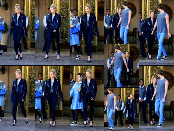 - 01.06.17 ─ Notre belle Hailey Baldwin est photographiée alors qu'elle quittait l'hôtel « Montage » à Beverly Hills ![/s#00000ize]C'est dans une tenue plutôt classique, mais très jolie que nous retrouvons Hailey pour ce premier jour de mois de juin, de retour en Californie ! Beau top -