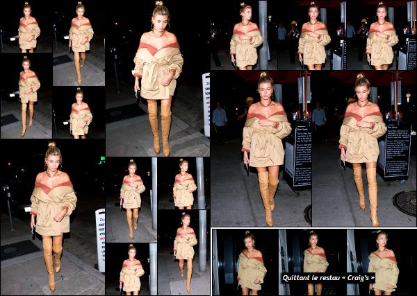 - 23.06.17 ─ La belle Hails Baldwin est photographiée alors qu'elle arrivait au restaurant « Craig's » à Los Angeles.[/s#00000ize]Plus tard, c'est en quittant ce même restaurant que nous retrouvons Hail, cette fois seule. Je n'aime pas vraiment la tenue qu'elle portait. Ca fait sac ! -