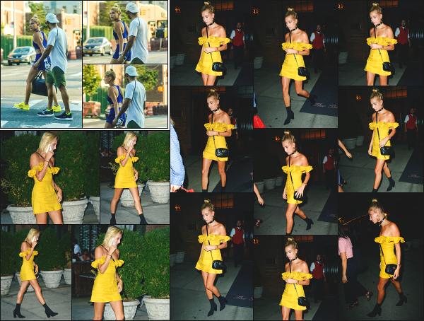 - 19.07.17 ─ La sulfureuse Hailey Baldwin est photographiée quittant l'hôtel « Bowery » dans les rues de New York ![/s#00000ize]La veille, c'est en quittant un cours de boxe que nous l'apercevons, toujours dans New York! J'aime beaucoup sa robe que je trouve très estivale ! Un top   -
