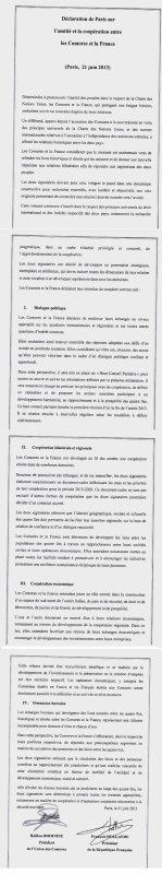 Déclaration de Paris sur l'amitié et la coopération entre les Comores et la France .