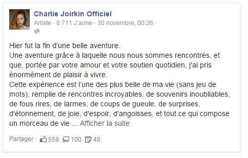 Charlie Joirkin (Emilie) quitte Plus belle la vie !