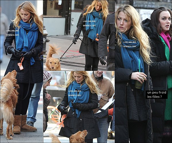 .     14/12/11 : Blake, les cheveux mouillés arrivait sur le set de Gossip Girl avec Baxter, le chien de Ryan. .