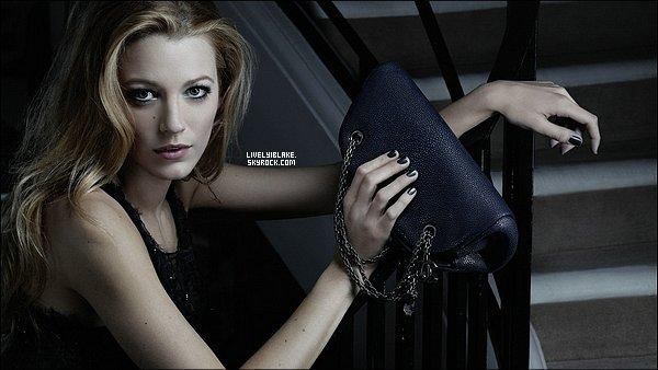 """.     Lively & Lagerfeld :  Blake est l'égérie de la maison Chanel et représente la ligne de sacs """"Mademoiselle"""".  ."""
