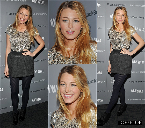 .    18/01/12 : Blake Lively était à la projection du film « Haywire » au cinéma Sunshine Landmark (NY).  .