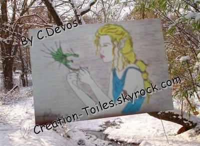 Concour :: Femme sur toile avec un petit dragon