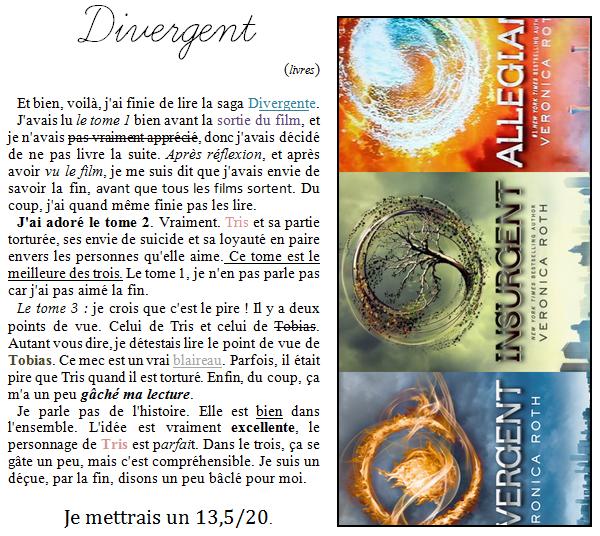 29 Aoùt 2014;#Divergent (livres)